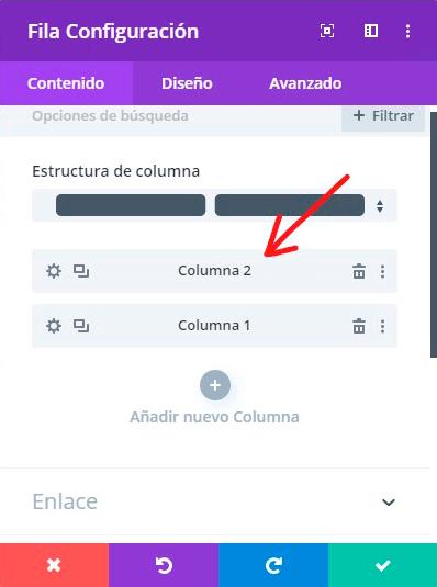 Configuración fila para Cambiar el Orden de las Columnas en Divi
